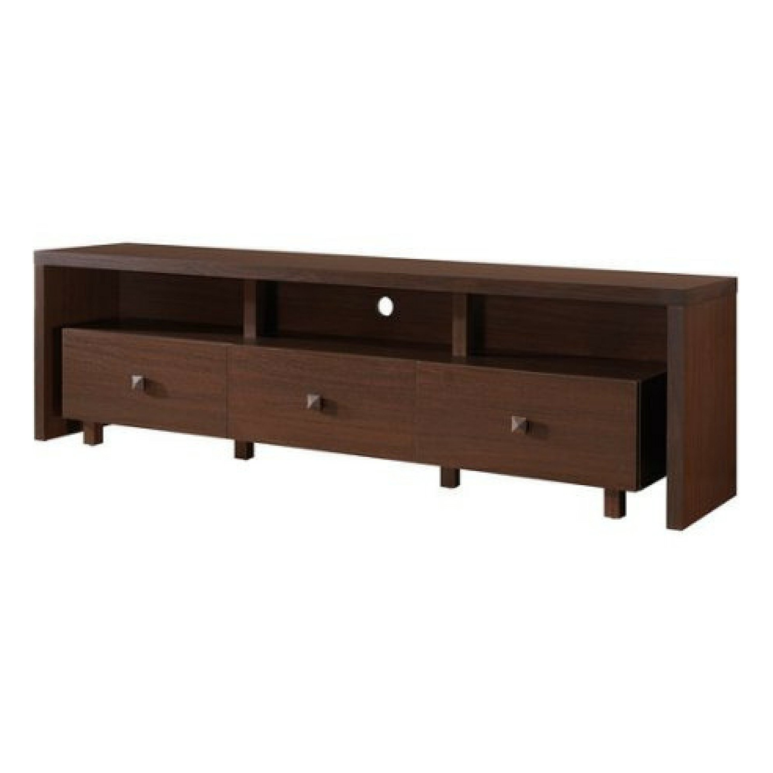 Modern Style Up To 70 TV Stand With 3-Drawer Cabinet, Hickory