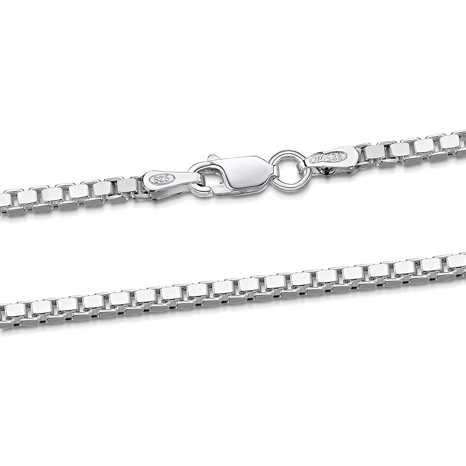 Amberta 925 Sterling Silver 2 mm Venice Box Chain Necklace Length 26 inch / 65 cm (26) BIA-S925-CHAIN-012-200-650