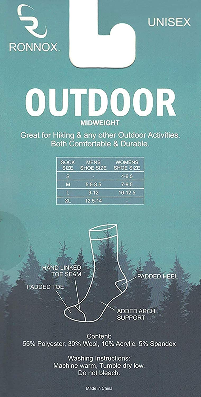 Running Socks Ronnox Womens Hiking Socks Outdoor Sports Cushioned Crew Socks 6 Pair