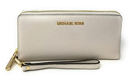 Michael Kors Jet Set Travel Continental Zip Around Leather Wallet Wristlet (Vanilla Pebble Leather)
