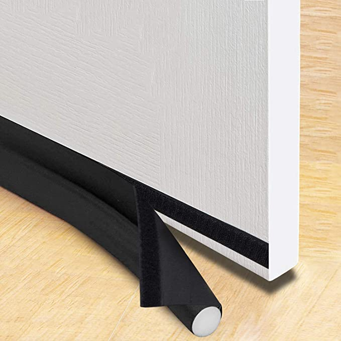 NAYUKY Door Draft Stopper Home Office Noise Reduce Under Door Draft Dustproof Strip EVA Soft Guard Brown
