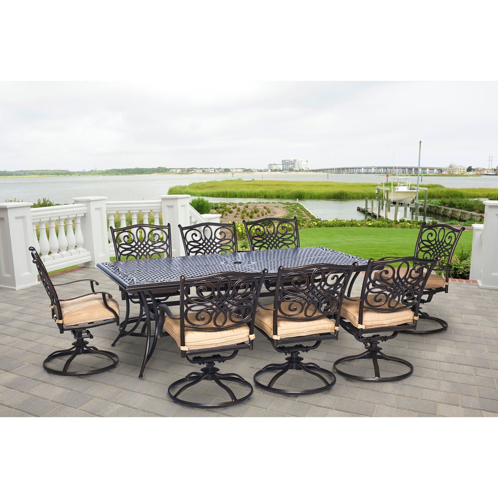 Hanover TRADDN9PCSW-8 Traditions 9 Piece Dining Set Outdoor Furniture, Bronze Frame, Tan