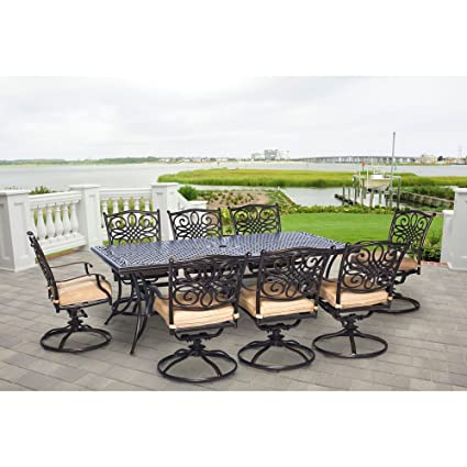 Hanover Traddn9pcsw  Piece Dining Set Outdoor Furniture Bronze Frame Tan