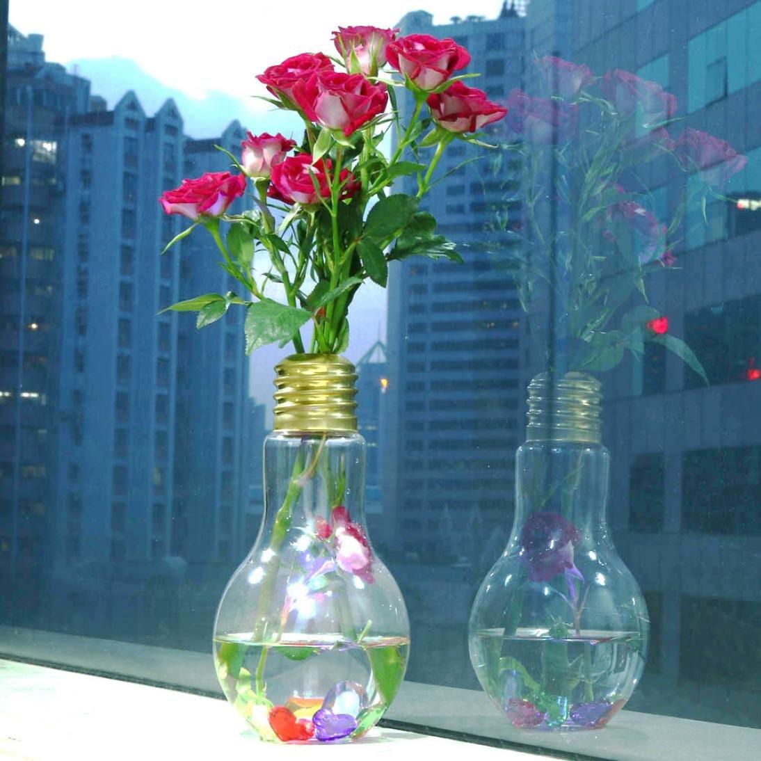 Transer Glowing Light Bulb Shape Stand Plant Flower Vase (Gold) by Transer (Image #5)