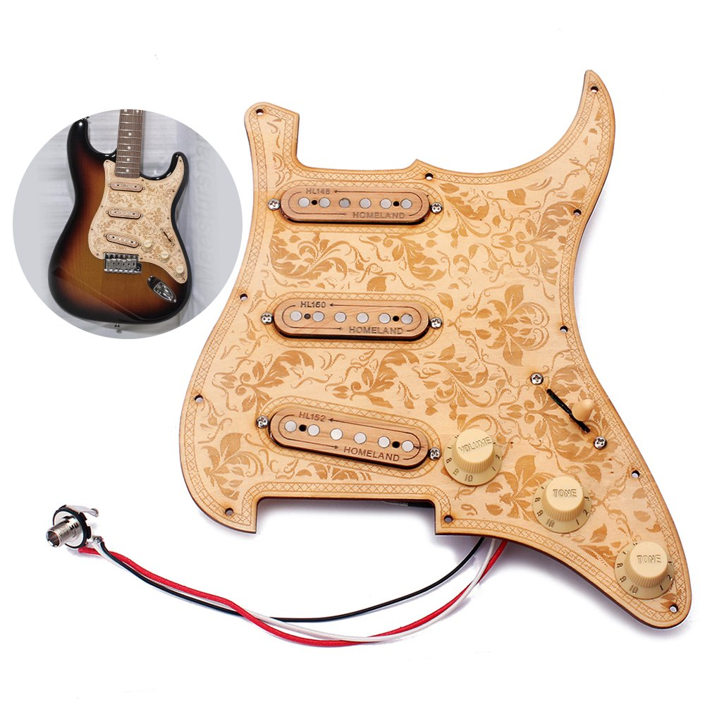Andoer Loaded Prewired Wooden Guitar Pickguard Maple Wood Plate SSS Pickups with Decorative Flower Pattern for Fender ST Electric Guitars Pick Guard