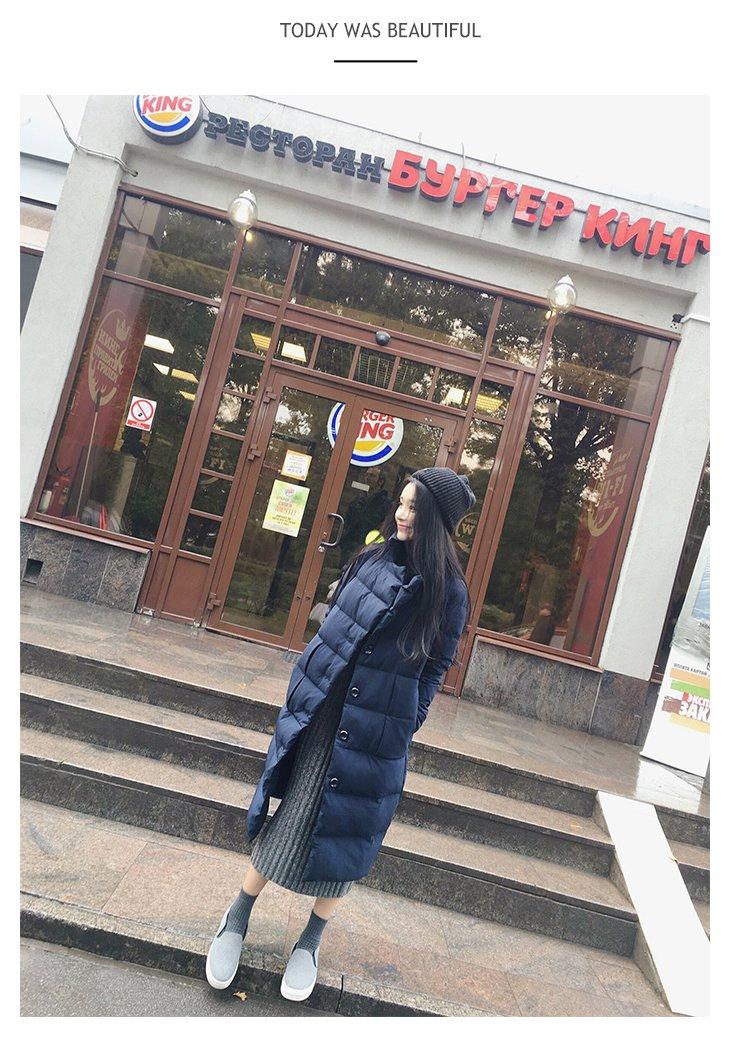 [] Korean version new winter long section knee collar Slim thin thin thin models down jacket coat for women girl