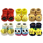 Wrapables Cute 3D Cartoon Anti-Skid Baby Booties Sock Slipper Shoes (Set of 6)Assorted, One Size