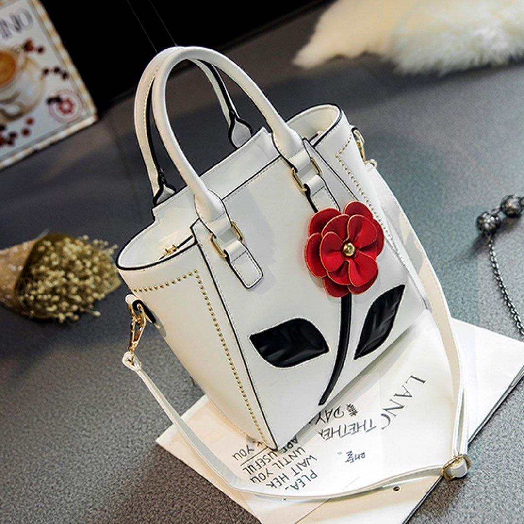 ABBY Femme 3D Rose fleur PU cuir sac de croix sac de bandoulière sac à main/Blanc zAiDW4Rm0