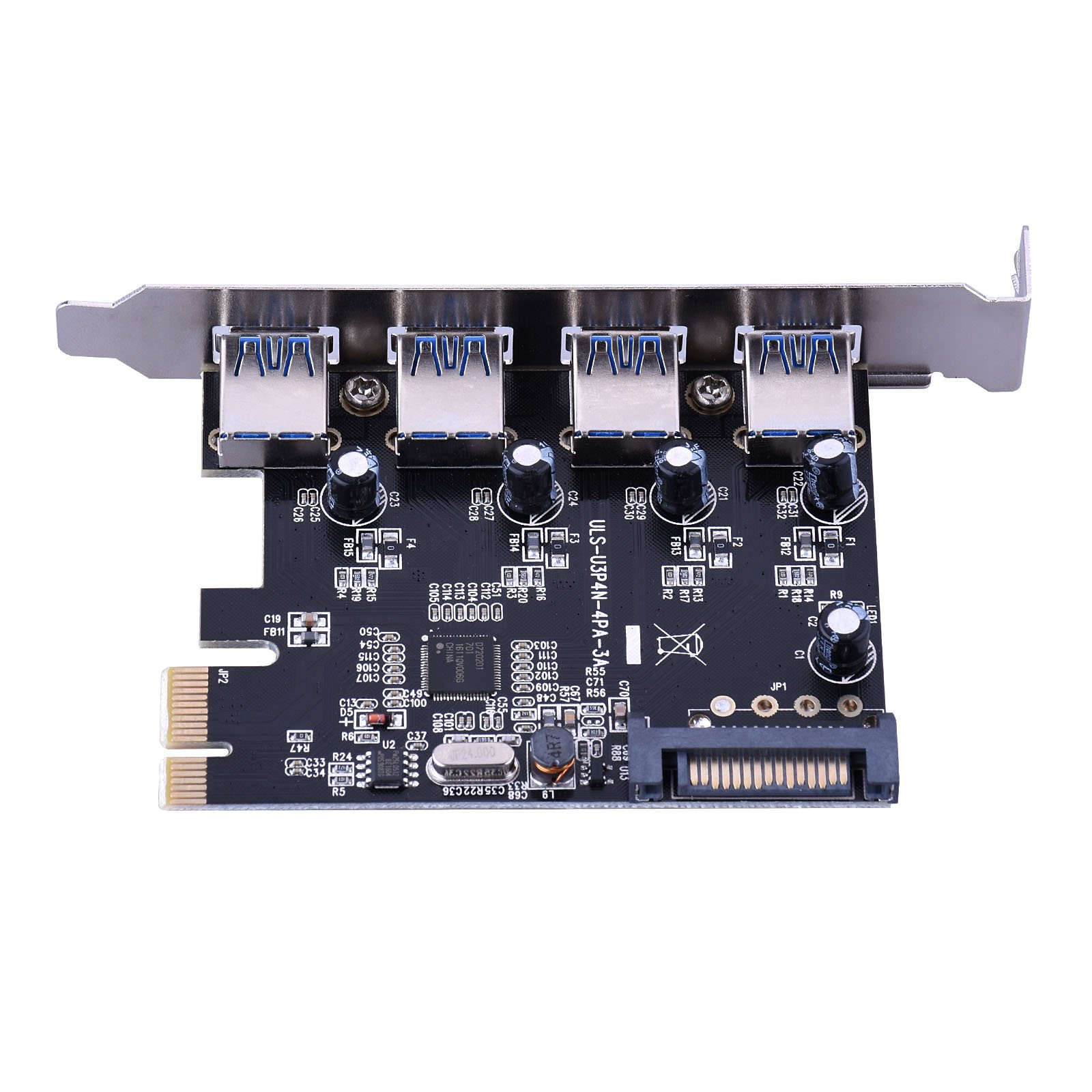ESHOWEE 4-Port SuperSpeed USB 3.0 PCI-E PCI Express Card with 15-pin SATA Power Connector for Desktops by ESHOWEE (Image #3)