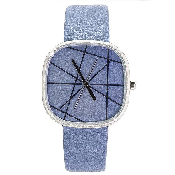 Chronomart Nafisa grande cuadrado esfera azul correa de piel mujer Fashion reloj de pulsera na-0062: Nafisa: Amazon.es: Relojes