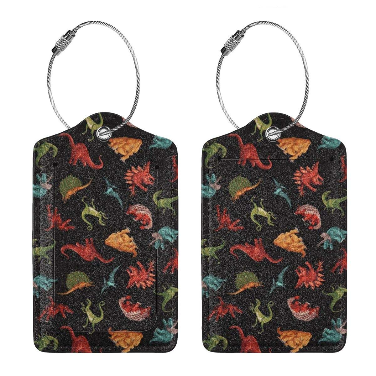Cute Dinosaur Design Luggage Tag Label Travel Bag Label With Privacy Cover Luggage Tag Leather Personalized Suitcase Tag Travel Accessories