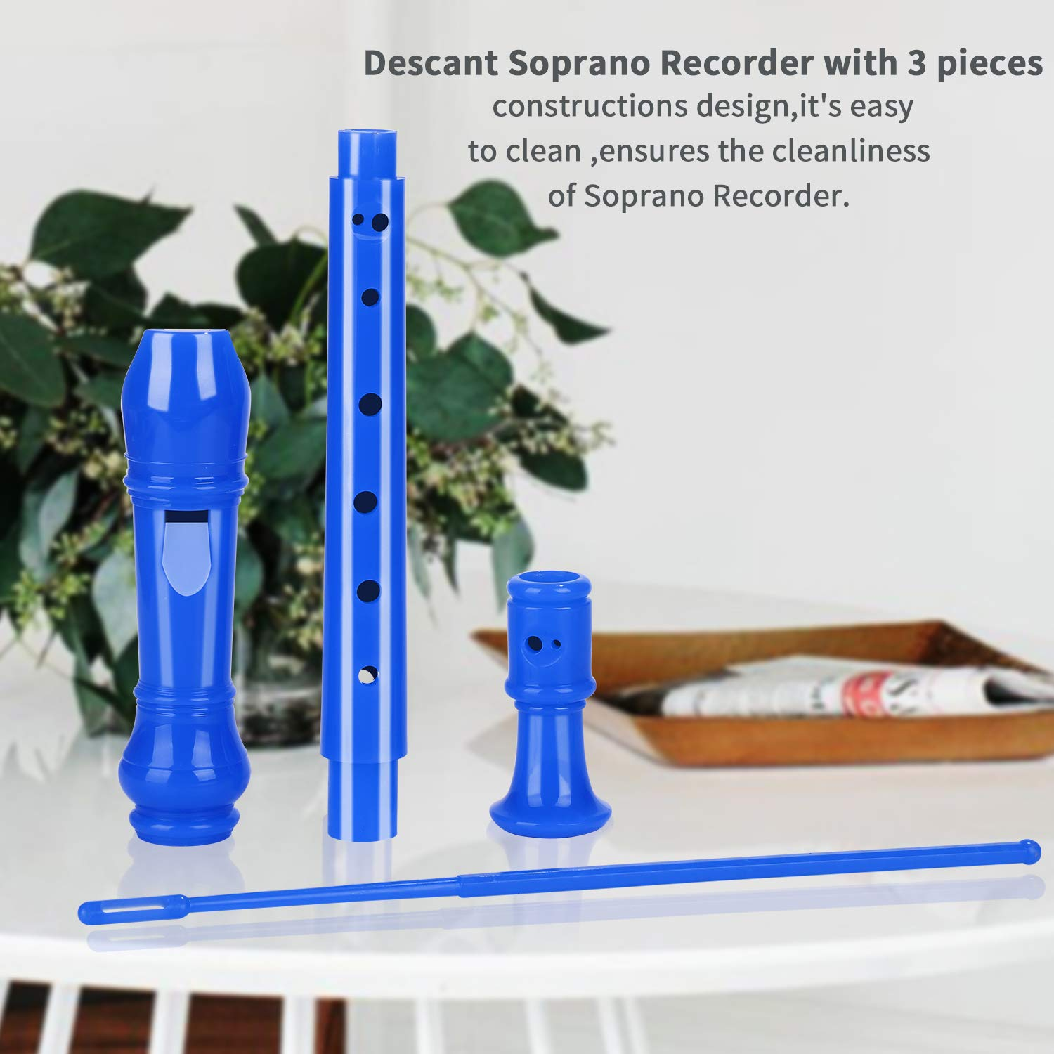 Lot-Yes 8-Hole Soprano Descant Recorder with Cleaning Rod + Case Bag Music Instrument (Blue)
