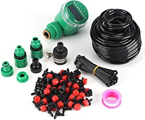 Tangxi Irrigation Kits, 25m DIY Plant Self Watering Garden Hose, Micro Drip Irrigation System with Timer Kits for Landscape, Flower Bed, Patio Plants