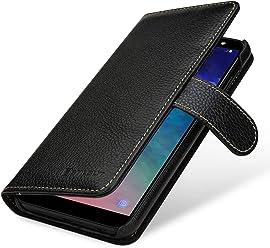 StilGut Talis Case Portafoglio, Custodia in Vera Pelle Cover per Samsung Galaxy A6 Plus 2018 con Chiusura Magnetica, Nero