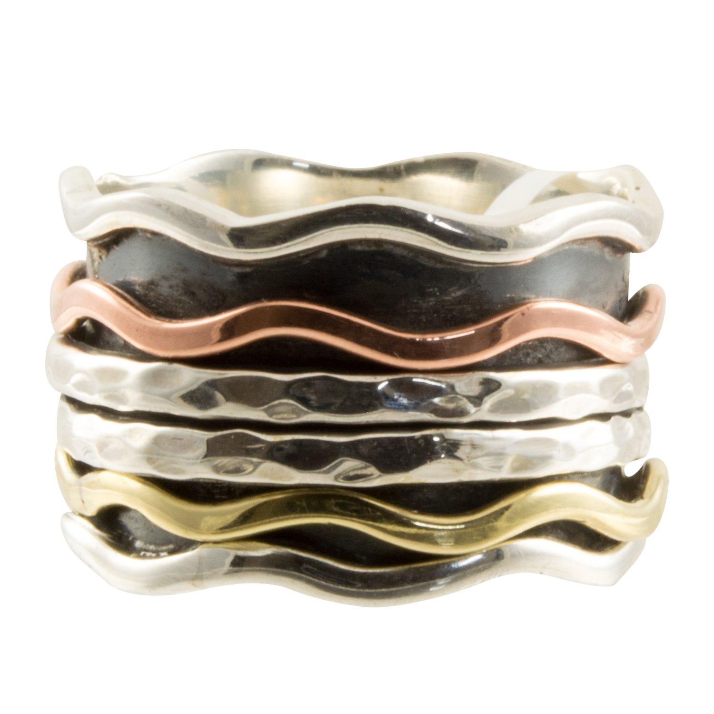 スターリングシルバー波線スピナーリングの銅と真鍮Spinning帯、サイズ8 B079SKDNN1