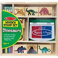 Melissa & Doug Wooden Stamp Set - Dinosaurs (Arts & Crafts, Sturdy Wooden Storage Box, Washable Ink, 14 Pieces)