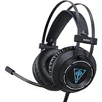 AUKEY cuffie gaming, cuffie on-ear con bassi migliorati, microfono flessibile, fascia regolabile e luce LED per PC, PS4 e Xbox