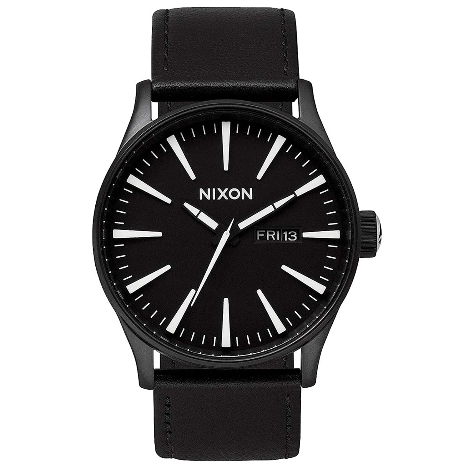 Nixon Herren Uhr Sentry Leather Analogs - Black - White