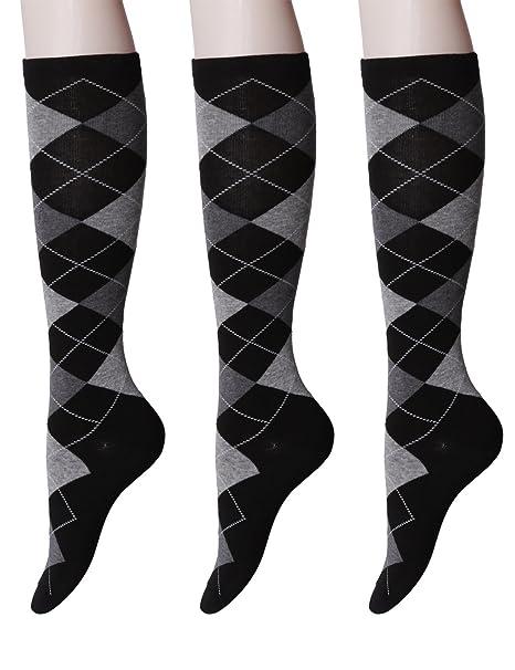 Osabasa Womens Argyle Pattern Knee High Socks 3pairs 1 Set Pack With