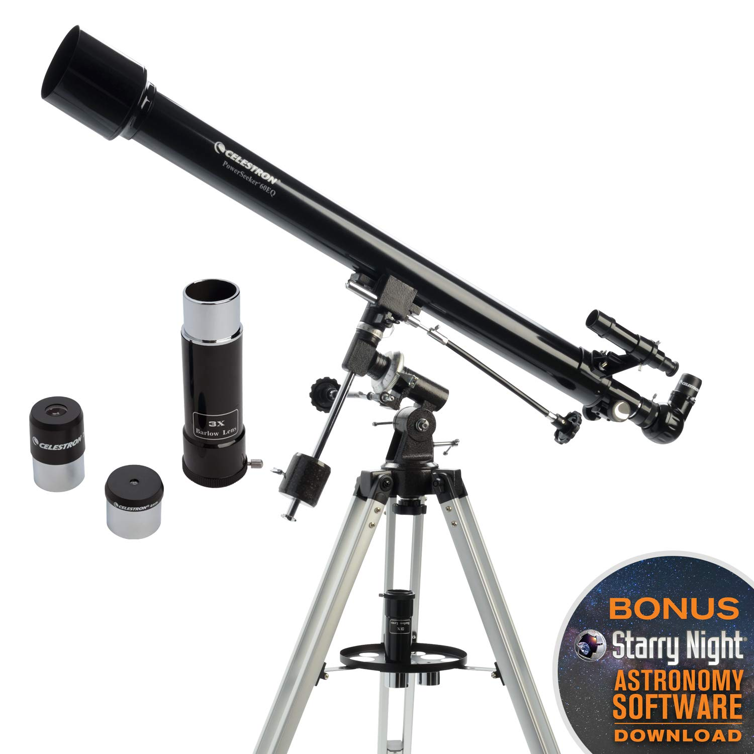 Celestron - PowerSeeker 60EQ Telescope - Manual German Equatorial Telescope for Beginners - Compact and Portable - BONUS Astronomy Software Package - 60mm Aperture by Celestron