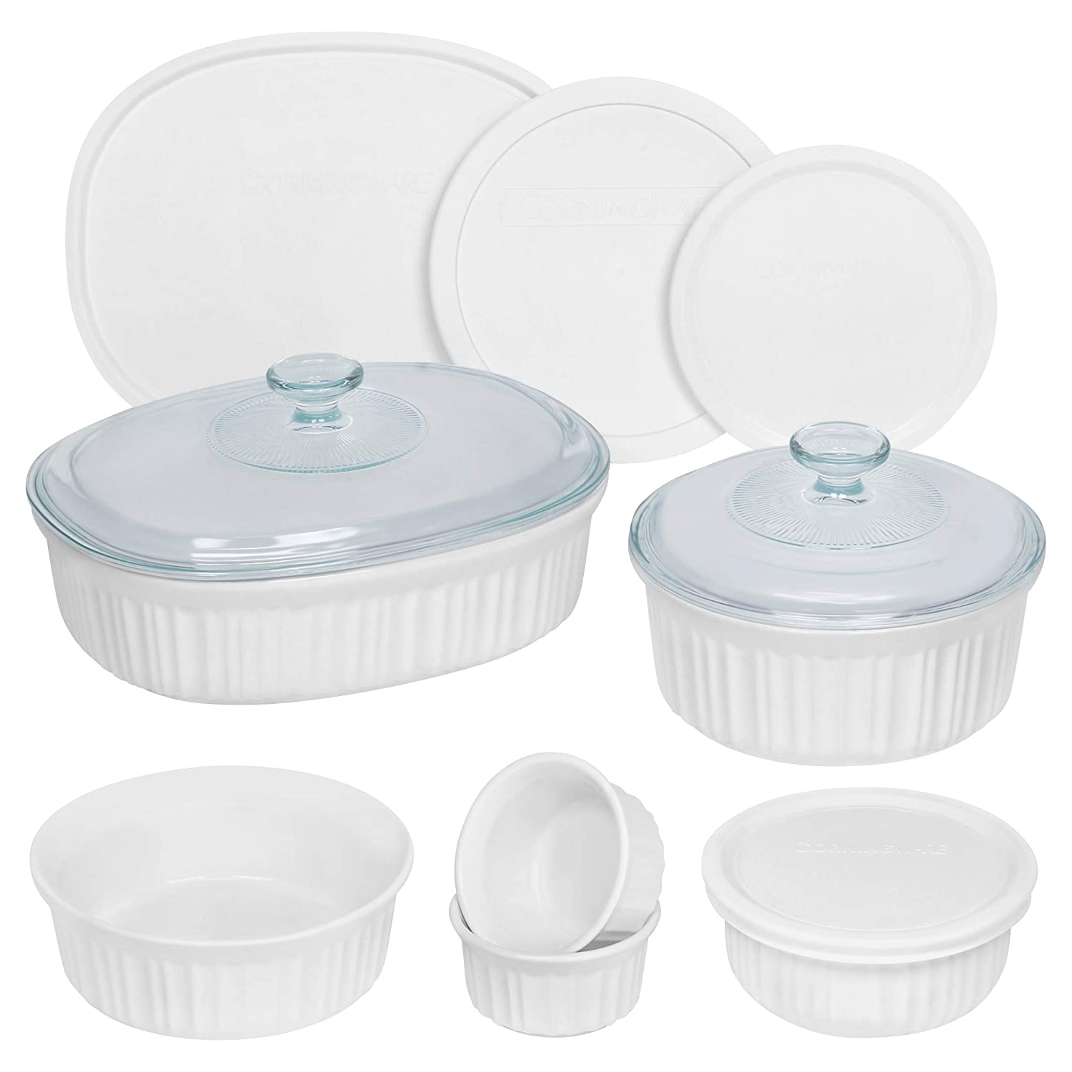 CorningWare French White Round and Oval 1138206 Ceramic Bakeware, 12-Piece