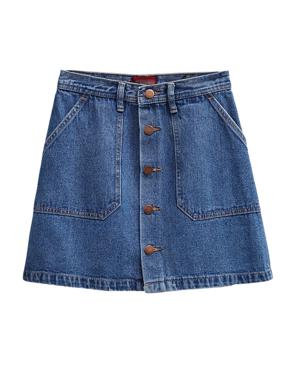 PERSUN Women's Button Front Denim A-Line Mini Skirt,S
