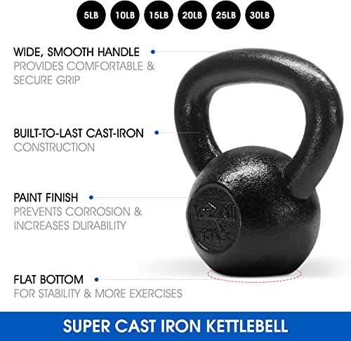 Yes4All Cast Iron Kettlebell Weight Sets Weights Available 5, 10, 15, 20, 25, 30 lbs and Adjustable Kettlebell Handle