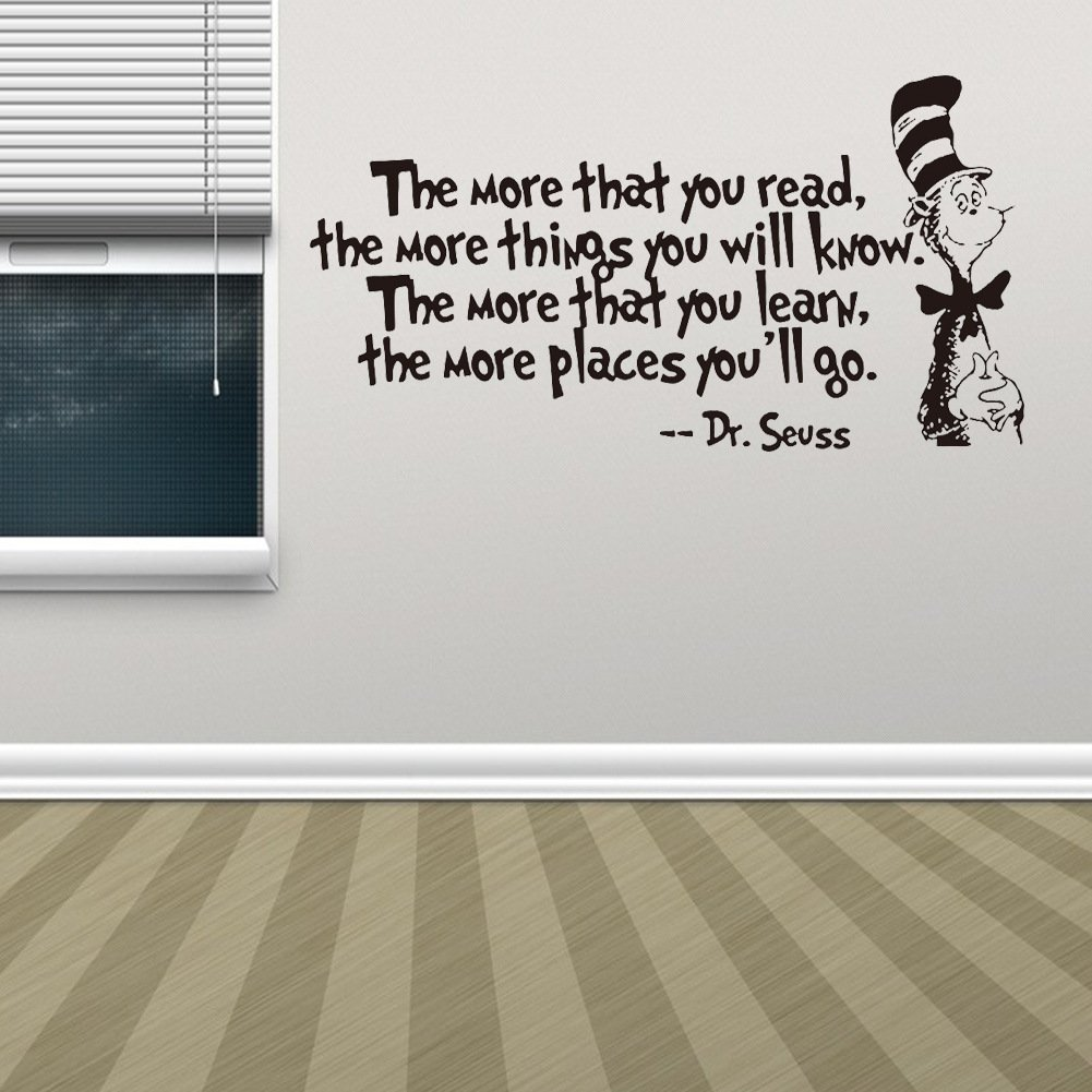 Removable Quotes and Saying Dr. Seuss the More You Read, the More Things You Will Know Transfers Murals Reading Wall Decal Love Baby Kids Children Bedroom School Art Wall Decals Stickers by Dofel (Image #8)