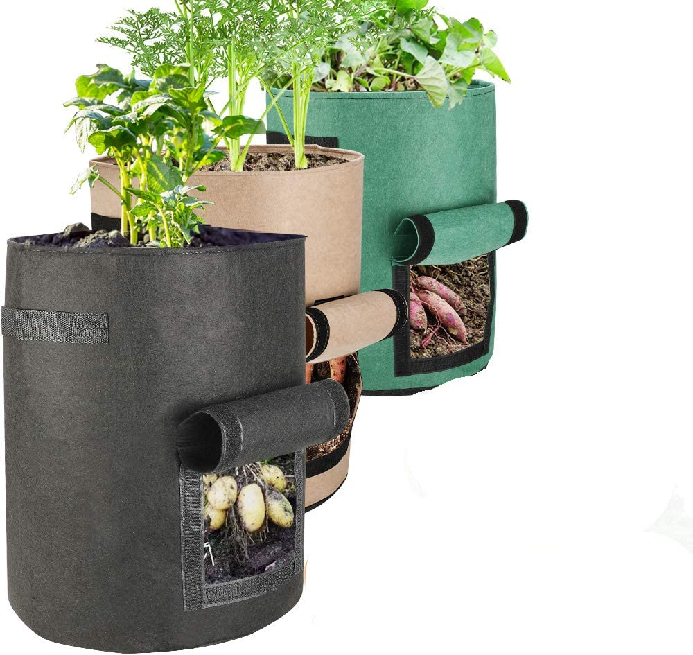 Futone Grow Bags, Potato Planter Bags, Planting Fabric Pots with Handles and Flap, Garden Bags for Vegetables, Tomatoes, Carrots, Onions (7 Gallon - 3 Pack)