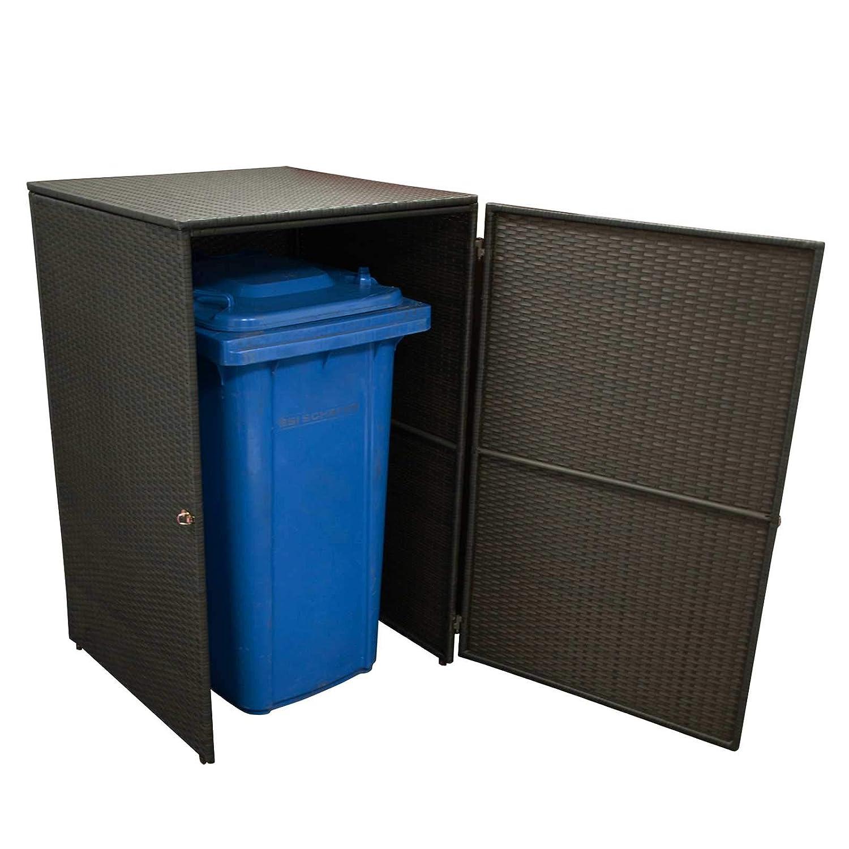 Gartenmoebel Mülltonnenbox klein 66x64x109cm für Tonnen bis 120 Liter, Stahl + Polyrattan Mocca Mülltonnenaufbewahrung