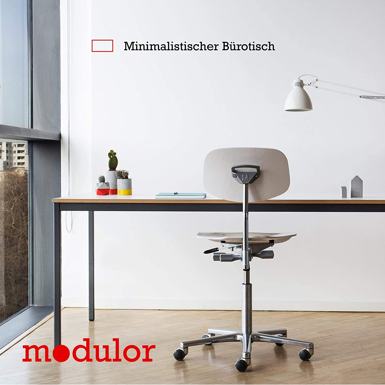 Modulor Tisch M1 mit grauem Tischgestell M und geperlter Tischplatte (1,9 x 90 x 180 cm), Schreibtisch mit Echtholzumleimer, metallic grau und weiß