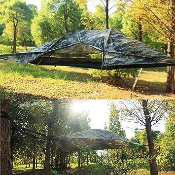 WintMing Hamaca de camping para 2 personas con mosquitera y lluvia ...