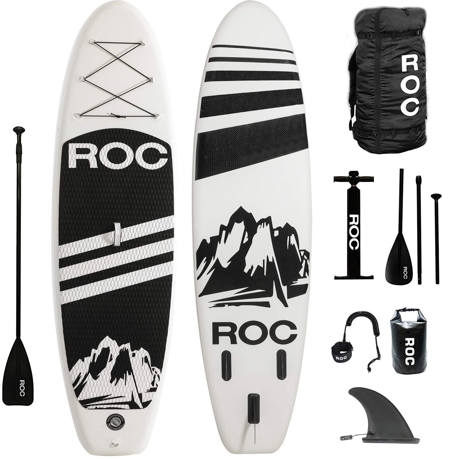Roc Inflatable Stand Up Paddle Boards W Free Premium SUP Accessories & Backpack { Non-Slip Deck } Bonus Waterproof Bag, Leash, Paddle and Hand Pump !!! Youth & Adult (Black) by Roc