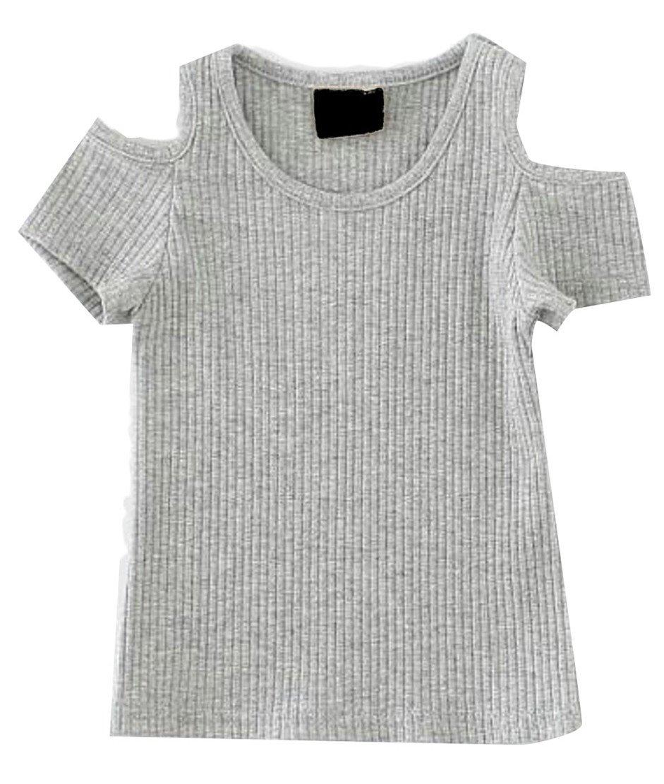 Lutratocro Girls Summer Cold Shoulder Rib Short Sleeve Top Tee T-Shirt Gray 2T