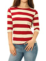 Allegra K Women's Elbow Sleeves Boat Neck Slim Fit Mother's Day Striped Tee