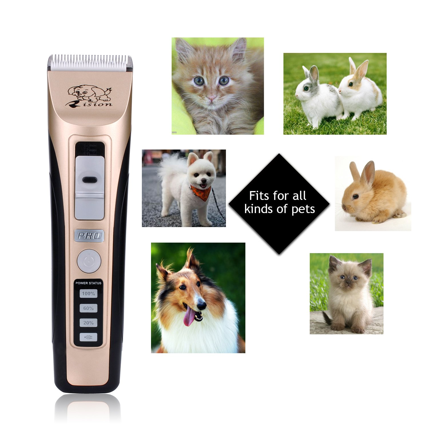 Pet Clippers, Rision Low Noise Rechargeable Cordless Dog Trimmers Professional Animal Grooming Shavers for Thick Hair Dogs, Cats, Rabbits and Horses by Rision (Image #1)