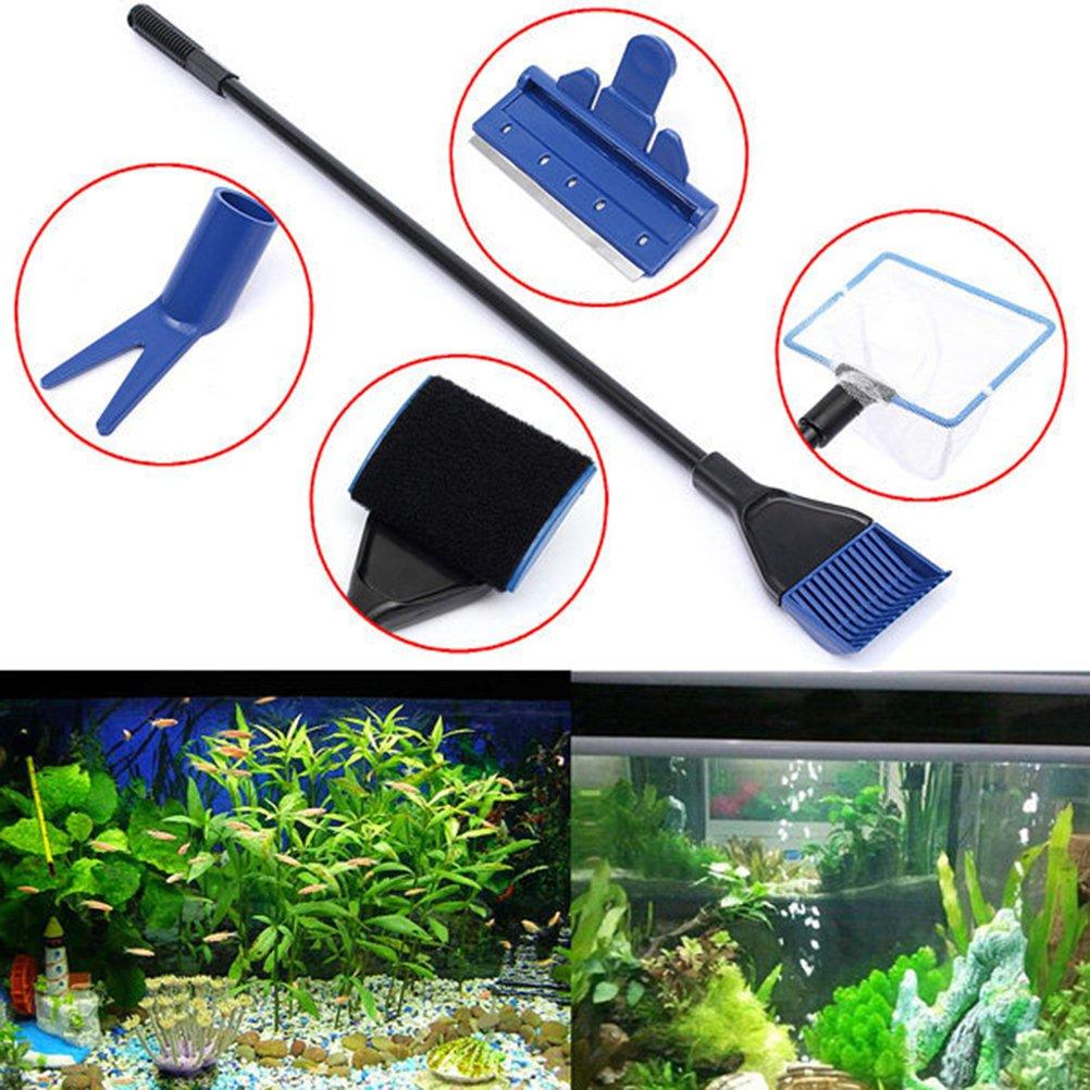 UEETEK Cleaning Tools for Aquarium Tank, 5 in 1 Complete Aquarium Fish Tank Cleaning Kit Fish Net / Rake / Scraper / Fork / Sponge