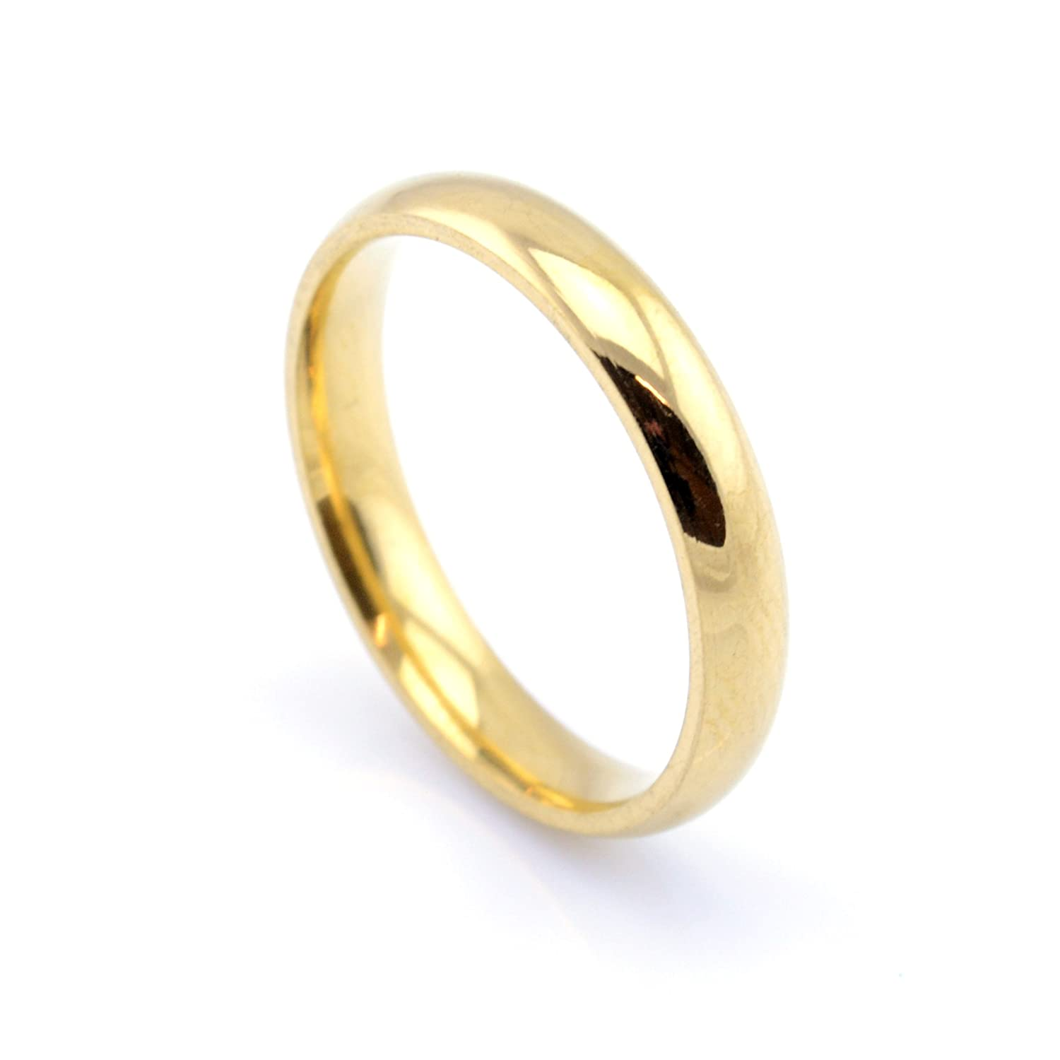 Vault 101 Limited 18k GOLD PLATED Men's Women's Stainless Steel Wedding Band Ring (4mm Wide) GOLDPLAINRING4MM1