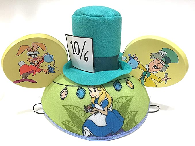 02e1dea772dd2 Amazon.com  Disney Parks Alice in Wonderland Mickey Mouse Ears Hat NEW  Adult Size  Clothing