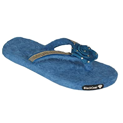 d8417d6af0b BlackCoal Women Room Slippers Girls Casual Bedroom Home Fur Flip Flops  WFC21 (6 UK India) Sky Blue  Buy Online at Low Prices in India - Amazon.in