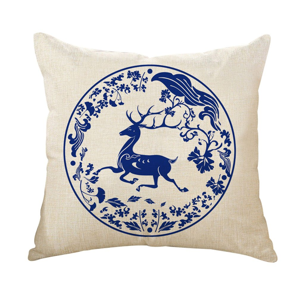 Chytaii Throw Pillow Case Cushion Cover with Chinese Blue and White Porcelain Pattern Sofa Bed Car Home Decor 18 x 18 inches
