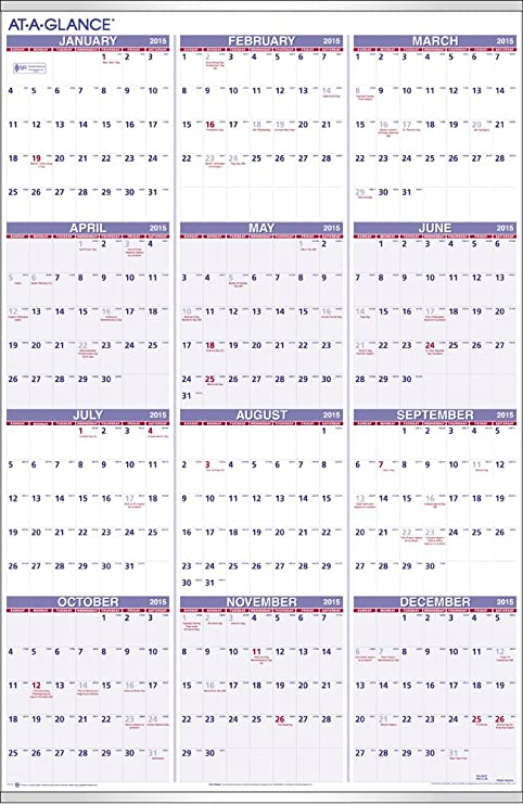 Amazon.com : AT-A-GLANCE Yearly Wall Calendar 2015, 24 X 36 Inch