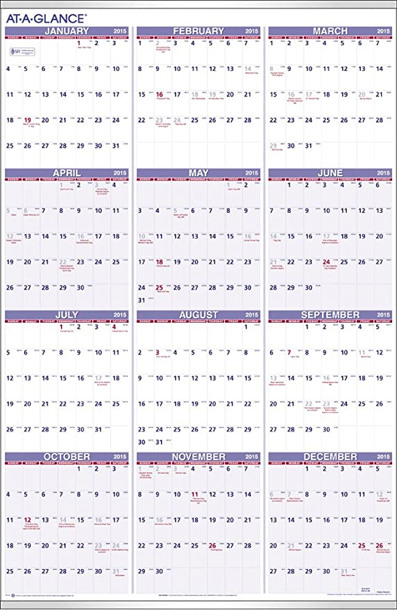 Amazon At A Glance Yearly Wall Calendar 2015 24 X 36 Inch