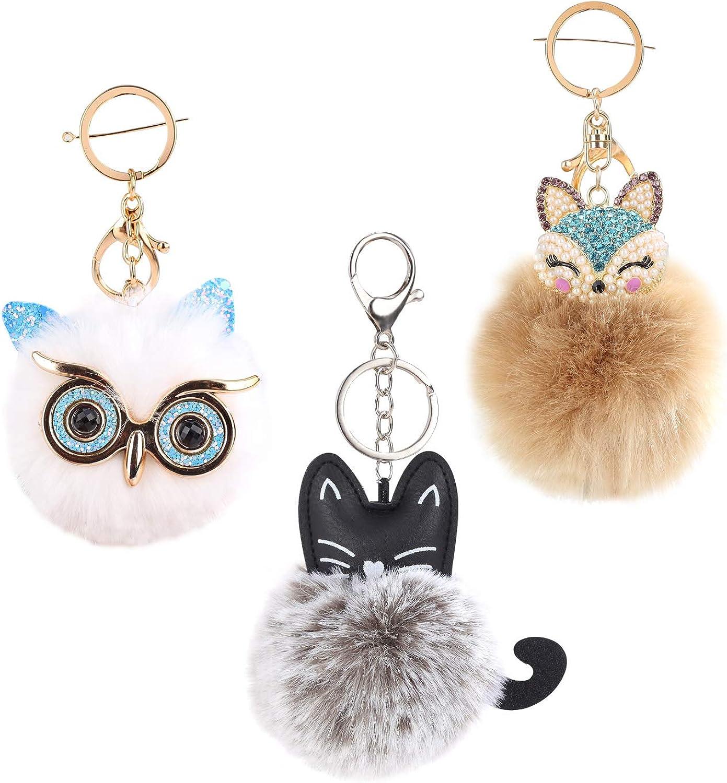 Farram 3 Pieces Animal Pom Pom Charm Ball Keychian Faux Fur Alloy Key Ring Synthetic Diamonds Fluffy Fox Owl Cat Head Style for Girls Womens Handbags,Backpacks,Cellphone,Clothing Pendant