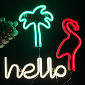 Xmas Decoration Neon Signs Warm White Hello Shape Neon Sign Flamingo Red LED Decor Light Green Coconut Tree Wall Decorative Lamp for Kids Teen Room Decoration Powered by Battery/USB(3pcs Set)