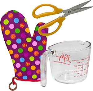 Left-handed Measuring Cup, Kitchen Shears & Oven Mitt Set