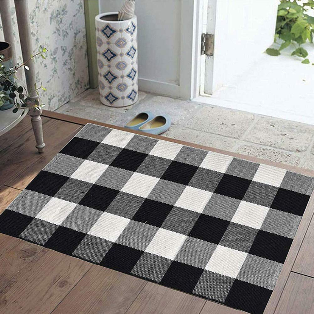 """BZTT Cotton Buffalo Plaid Rugs Black and White Checkered Rug Door Mat (23.6""""x51.2"""") for Kitchen Carpet Bathroom Outdoor Porch Laundry Living Room Braided Throw Mat Washable Woven Buffalo Check"""