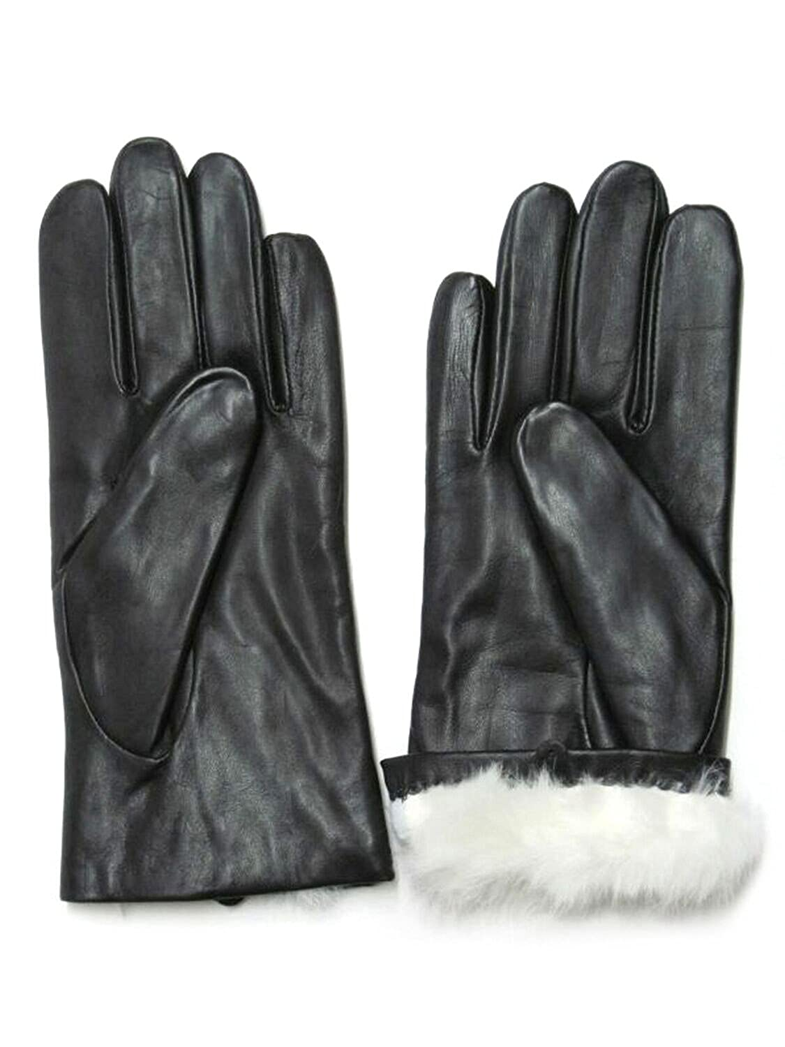 Women's Affordable Black Napa Leather Rabbit Fur-Lined Gloves