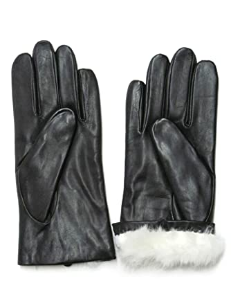 28ce6afd2 FOWNES Women's Rabbit Fur Lined Black Napa Leather Gloves at Amazon ...