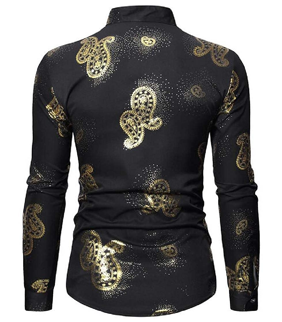 YYear Men Regular Fit Paisley Printed Long Sleeve Button Front Shirts